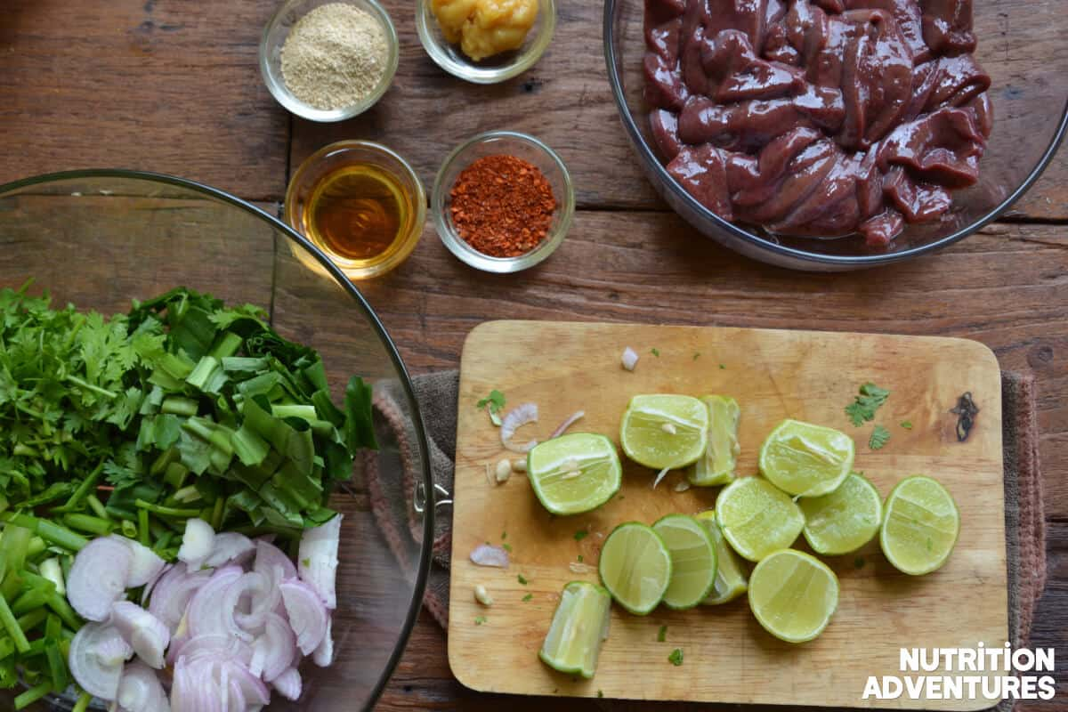 larb recipe with fresh lime and vegetables