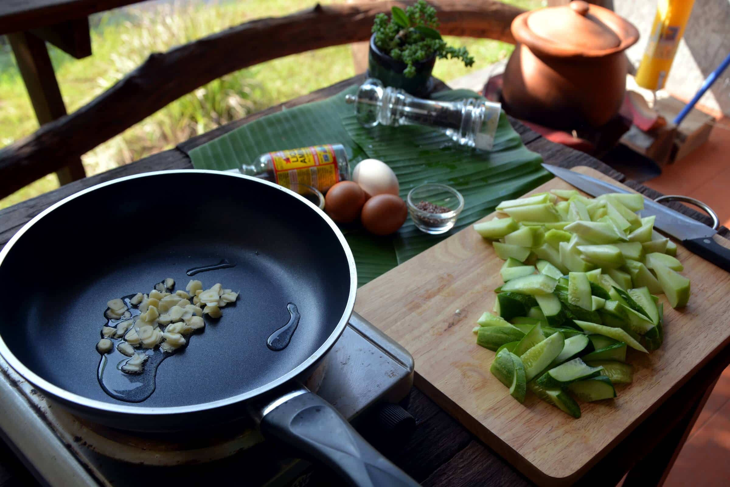 Eggs and cucumber stir fry Thai recipe ketogenic paleo