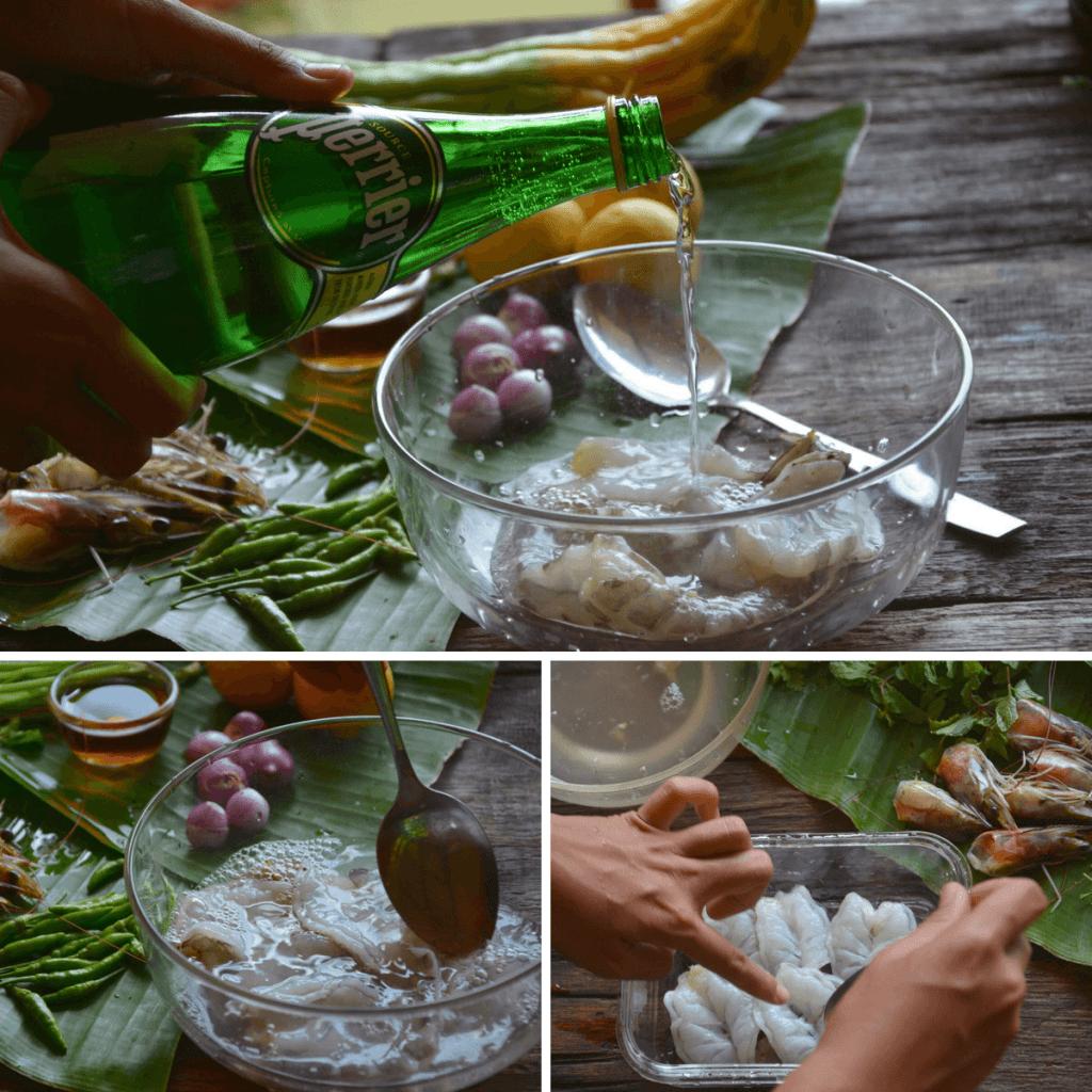 Clean raw shrimp in soda water-min